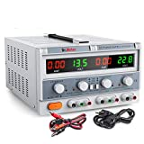 Dr.meter Triple Linear Variable DC Power Supply, Adjustable 30V/5A, Series and Parallel Mode, Input Voltage 104-127V, with Alligator Leads to Banana and AC Power Cable (HY3005F-3)