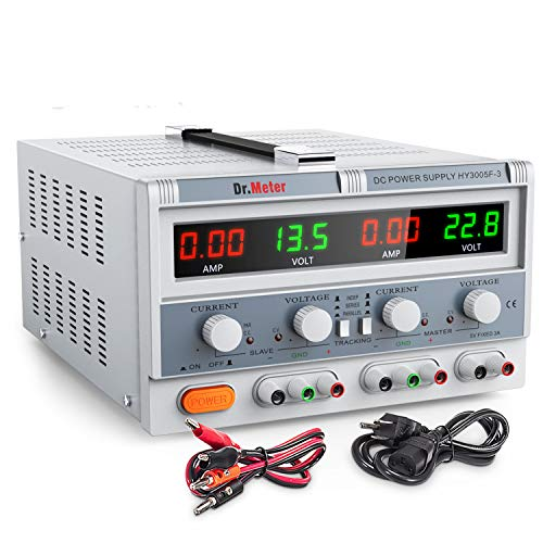 Dr.meter Triple Linear Variable DC Power Supply with Adjustable 30V/5A Switching Regulated Power Supply