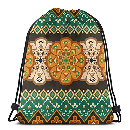 Lcokin Bundle Backpack Outdoor Shopping Knapsack Ethnic Mexican Geometric Print Rope-Pulling Bag Sports Bag Suitable for Fitness Shopping and Yoga