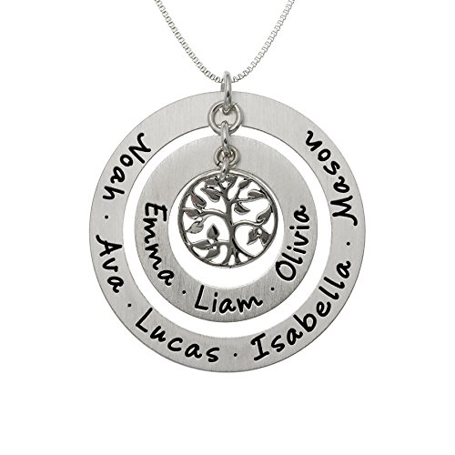 AJ's Collection Personalized My Family Tree Sterling Silver Graduation Necklace. Customize Round Charms