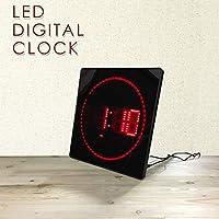LED スクエア スリム デジタルクロック 壁 掛け時計 ウォールクロック 赤文字 カレンダー機能 温度計