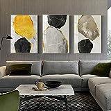 SAIDE Bloques Abstractos de Pintura de Figuras Amarillas y Negras en el Lienzo de la Pared. Carteles de diseño Exclusivo e Impresiones del Cuadro de la Sala de Estar 50x70cm sin Marco
