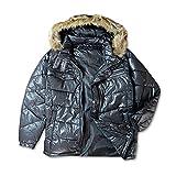 (ブラック/LL)メンズ 中綿ジャケット D'HOMME A HOMME ドムアオム シレー 合皮切替 ファー付き アウター 紳士