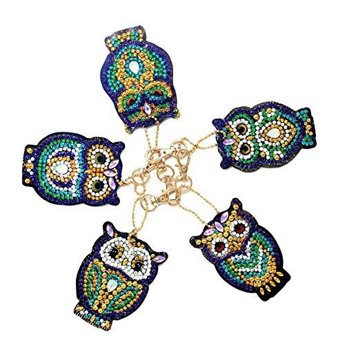 5 x Diamant-Schlüsselanhänger, DIY Full Drill Love Herz / Eule Form Malerei Kits Niedlich Schlüsselanhänger Kunst Handwerk Schlüsselanhänger Anhänger für Kinder und Erwachsene Handtaschen-Anhänger