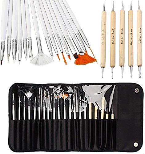 20 herramientas de manicura para manicura, color negro, 15 piezas de pinceles para arte de uñas, diseño de uñas, herramienta de pintura y detalles + 5 piezas punteado bolígrafo de pintura