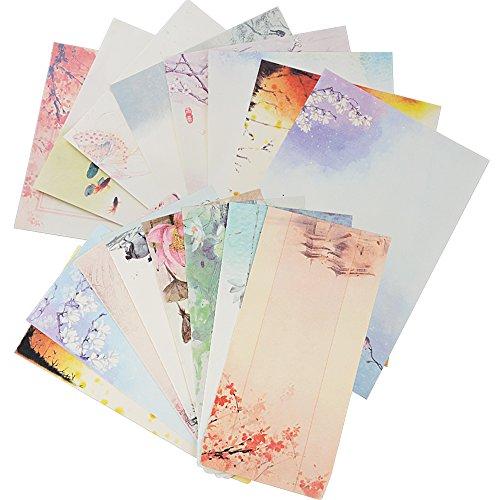 32 Blatt Briefpapier mit 16 Blatt Umschläge Set vintage Schreibpapier Motivpapier mit Umschlag ohne Fenster