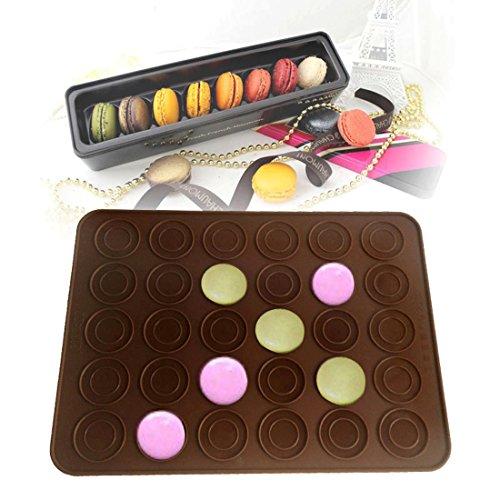 Macarons Backmatte Silikon mit Antihaft-Beschichtung für 30/48 Makronen, Cookies, Muffins, Cupcakes oder Kekse 38x28 cm in Braun von wortek