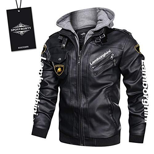 xiaosu Faux Leder Bomber Jacke La.m.Bo-Rg.hi.Ni Drucken Mit Herausnehmbar Kapuze Windbreaker Herren & Damen Moto Racing Coats Oben/Schwarz/XXL