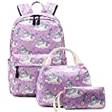 Abshoo Cute Lightweight School Boobag Kids Unicorn Backpacks for Girls Backpacks with Lunch Bag (A Unicorn Purple)