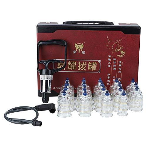 Le massage chinois dégageant des ventouses a placé, le ménage de dispositif de vide sous vide retirez le vide pour le désintoxication de soulagement de la douleur, avec 19 tasses en verre de la meille
