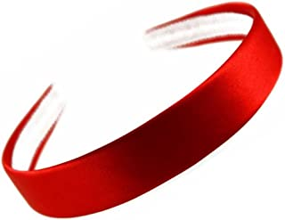 "2.5cm (1"") Wide Red Satin Covered Alice Hair Band Headband"