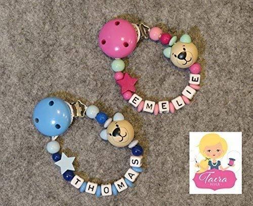 Schnullerkette mit Wunschname - Geschenk zur Geburt - Mädchen und Junge