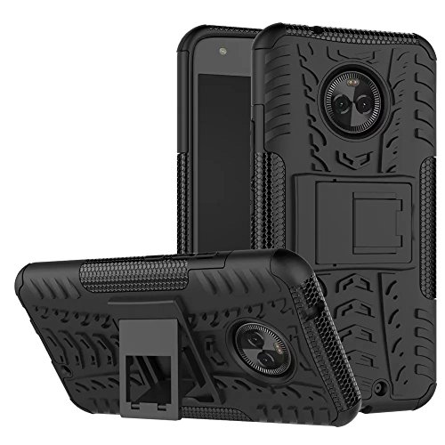 Motorola Moto X4 Hülle, GOGME Rugged TPU / PC Hybrid Armor Schutzhülle. Anti-Scratch PC Rückwand Schale + Stoßfeste TPU Innenschutzabdeckung + Faltbarer Halterungen, Schwarz