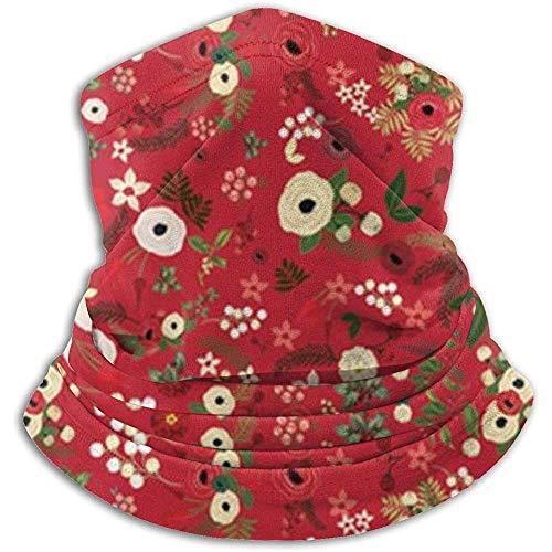 Bklzzjc Scaldacollo Vintage in Pile Floreale Rosso di Natale Vintage - Reversibile Scaldacollo a Tubo, Archetto e Maschera Scaldamuscoli versatilità