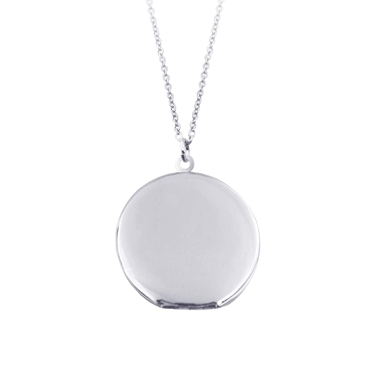 Power Wing Round Locket Necklace Pendant Simple Circle That Holds Picture for Women Sexy Jewelry