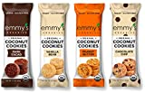 Emmy's Organics, Coconut Cookies - Variety Pack, 1.5 oz (Pack of 12) (Dark Cocao, Peanut Butter, Vanilla Bean, Chocolate Chip)