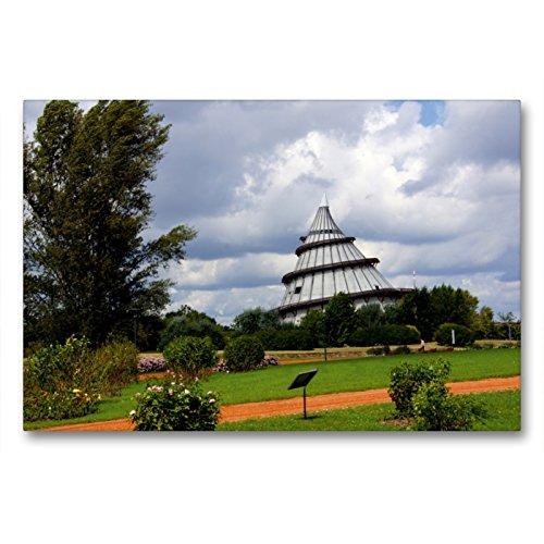 CALVENDO Premium Textil-Leinwand 90 x 60 cm Quer-Format Jahrtausendturm auf dem Bugagelände in Magdeburg, Leinwanddruck von Fotine