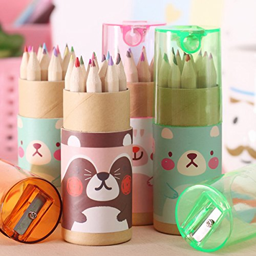 3 Pack Cute Cartoon Bear Drawing Mini Colored Pencils with Sharpener, 3.5' Length, 12 Count in Tube, Office School Supplies Students Children Gift