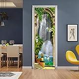 DFKJ Pegatinas de Puerta de diseño Moderno Papel Tapiz Chocolate Piano Caballo Autoadhesivo decoración de Sala de Estar Arte Mural A25 86x200cm