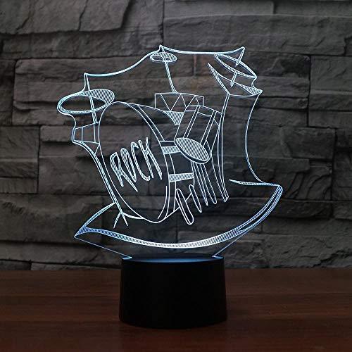 (HLDWMX) Nachtlicht 3D Schlagzeug Musikinstrument 16 Farben ändern Touch Switch Schreibtisch Dekoration Lampen Geburtstag Film Fernbedienung Weihnachtsgeschenk mit Acryl Flat & ABS Base & USB