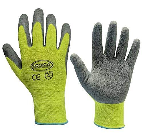 Schuim handschoenen latex grijs/geel HV maat 11 Logica