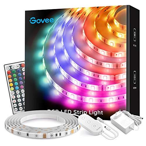 Govee Striscia LED 5m Aggiornata Impermeabile RGB, Luci LED con Telecomando per Camera da Letto, Cucina, Cambia Colore, Alimentazione 12V 1.5A