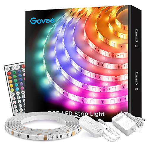 Govee Tiras LED 5m, Luces LED RGB con Control Remoto de 44 Botones 20 Colores, para Habitación, Dormitorio, Cocina, 12V
