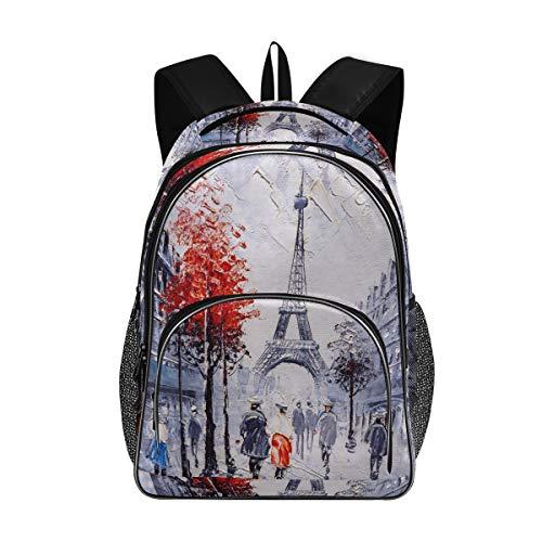 ISAOA - Bolsas escolares para adolescentes y niñas, estudiantes universitarios, pintura artística, Francia París, Torre Eiffel, 617312621, mochila de viaje, mochila informal con puerto de carga USB