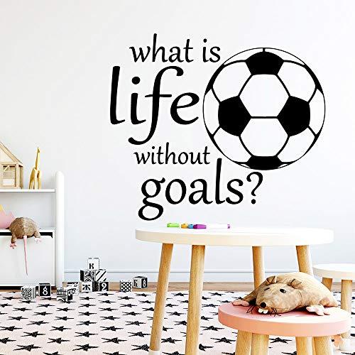 HNXDP Hot Ssentence ¿Qué es la vida sin objetivos? Etiqueta de la pared del fútbol Pegatinas de pared extraíbles Papel pintado de bricolaje Calcomanías a prueba de agua Dormitorio Blanco L 43cm X 49cm