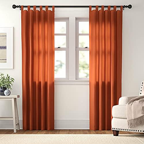 Cortinas impermeables para sala de estar, balcón, pérgola, patio al aire libre, cortinas de persianas, cortinas con pestaña superior de un panel (naranja 100 x 108 pulgadas, 250 x 270 cm)