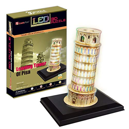 LED 3D Puzzle Paper Model   Leaning Tower of Pisa (Italy) Jigsaw with LED Series L502H by