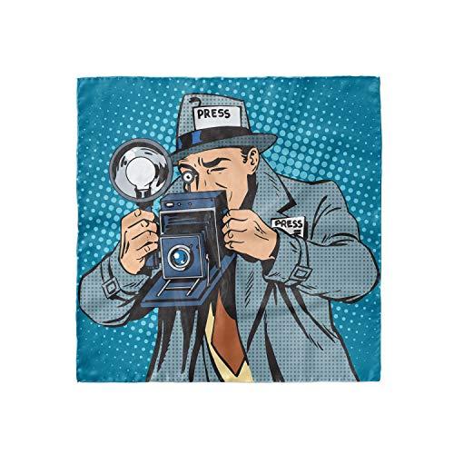 Ambesonne Paparazzi Kopftuch Comic Fotograf Man, Haartuch - mehrfarbig - 89 cm x 89 cm