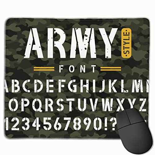 Military Stencil Font On Camouflage Vintage Personalized Mouse Pad - Add Pictures, Text, Logo Or Art Design and Make Your Own Customized Mousepad.11.8 X 9.8 Inch