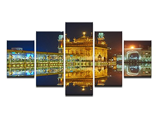 5PCS Framed Golden Temple Dawn Mirror View Canvas Prints - 5 Piece Amritsar Sikh's Heritage Artwork Canvas Prints Wall Art for Office and Home Wall Decor (30x40cmx2,30x60cmx2,30x80cmx1)