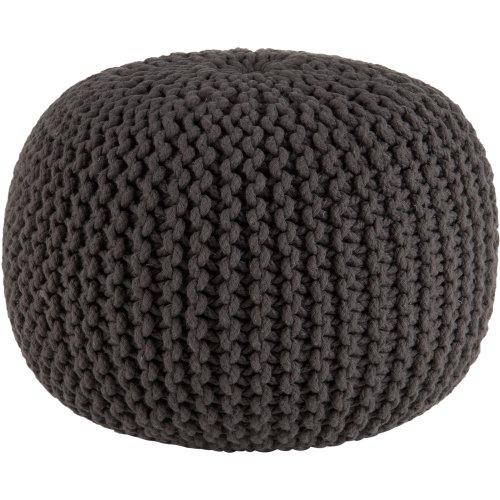 pouf 50x50 Sweet Needle–Pouf lavorato a maglia stile Dori–ottomano–100% cotone intrecciato cavo–fatto e cucito a mano –veramente unico nel suo genere–50cm di diametro x 35cm di altezza Grey