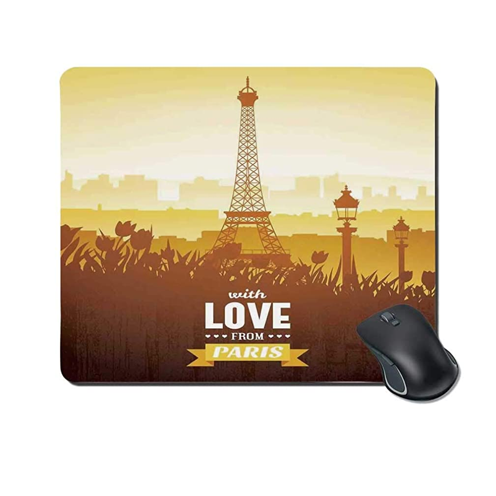 Paris Decor Durable Mouse Pad,Eiffel Tower with Tulip and City Silhouette Nostalgic Town Floral Romantic Scene for Office Home,9.4