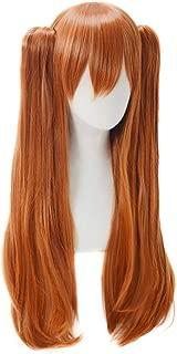 C-ZOFEK Shikinami Asuka Langley Wig Womens Long Orange Cosplay Hair With Detachable Ponytails (Orange)