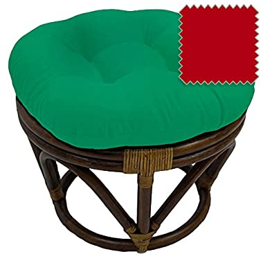 18-Inch Bali Rattan Papasan Footstool with Cushion - Solid Twill Fabric, Red - DCG Stores Exclusive
