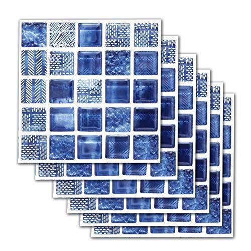 Pegatinas de azulejos Autoadhesivo Etiqueta de la pared a prueba de agua DIY Papel pintado de mosaico de imitación azul Decoración de arte para baño Cocina Piso Pared 20 20cm (6 uds)