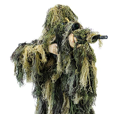 Arcturus Warrior Ghillie Suit   Hunting Clothes for Men   5-Piece Camouflage Suits for Hunting, Military, Airsoft Snipers (Woodland, M/L)