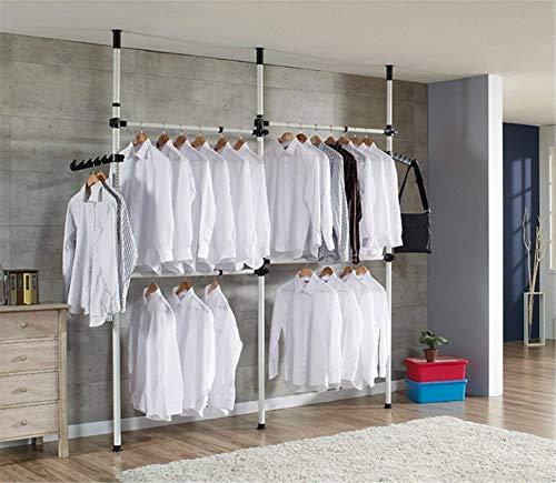 Teleskopischer Kleiderschrank für Mantel und Kleider, Kleiderstange, Kleiderstange mit Querstreben, Höhe und Breite verstellbar, für Schlafzimmer (4 Stangen)
