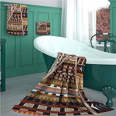 Tribal 3 Piece Bath Towel Set, Various Abstract Geometrical Motifs Folkloric American Culture Inspired Vintage Design, Picture Print Bath Towel 3D Digital Printing Set Brown