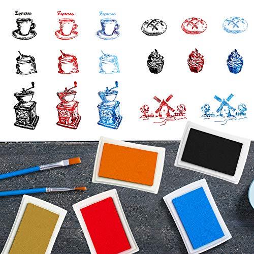 MWOOT 6 Farben Stempelkissen Set mit Silikonstempel zum Stempeln von Weihnachtskarten, Bildern, Bordüren, Grußkarten oder Tischkarten für...