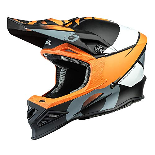 O'NEAL | Casco de Motocross | MX Enduro Motocicleta | Airflaps™ Compatible, Forro Acolchado Coolmax, Cierre de Seguridad Doble-D | F-SRS Helmet Glitch | Adultos | Naranja Negra | Talla M