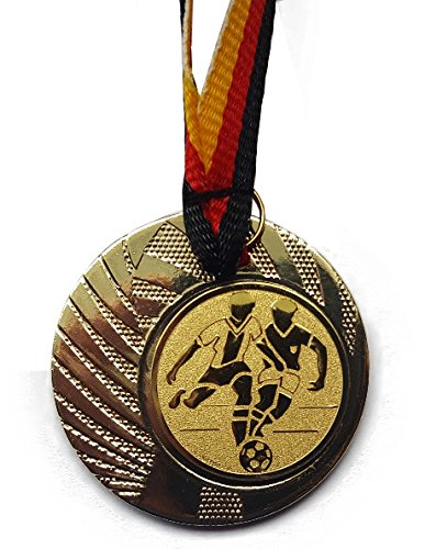 Fanshop Lünen 10 Stück Medaillen - Fußball - aus Stahl 40mm / Gold - inkl. Medaillen-Band - mit Emblem 25mm - (e262) -