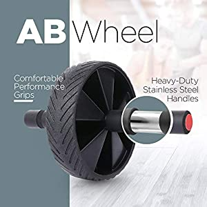 3 In 1 AB Wheel Roller Kit Push-Up Bars, Jump Rope and Knee Pad, ABS Workout Guide - Abdominal Core Fitness Workout for Abs - AB Roller Home Gym Workout Exercise Equipment for Men And Women Trainer