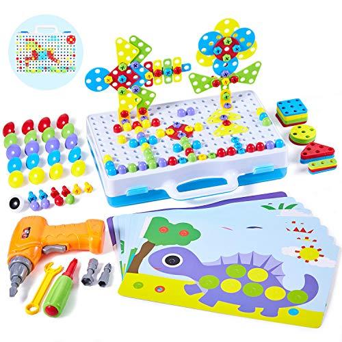 Paochocky Puzzle Mosaik Steckspiel Bausteine Spielzeug 3D Puzzle mit Bohrmaschine Pädagogisch BAU Spielzeug Pegboard Puzzle für 3 4 5 6 7 8 9 10 Jahre Jungen Mädchen