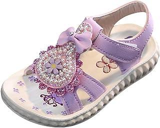Fossen Zapatos de Princesas con Flores de Perlas para Niña - Sandalias Niña Verano Baratas Playa Casual Fondo Suave