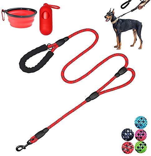 Moonpet Hundeleine – 1,8 m strapazierfähige Doppel-Griff reflektierende Hundeleine mit bequem gepolstertem Seil für mittelgroße und große Hunde, rot