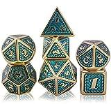 Juego de Dados de rol, Poliédricos Dice de Metal Set de Dados D&D de Juego de rol DND para RPG Dungeons and Dragons Juegos de Mesa Enseñanza de Matemáticas (Imitation Gold - Light Blue)